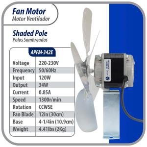 Appli Parts Fan Motor Elco Type 10w 220v 50-60hz 0.35a 1300rpm Fan 9-1/16 in Ccwse With Base And Fan Blade APFM-102E Ref. Nuv-010-2